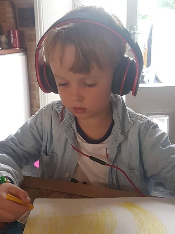 Boy listening to audiobooks