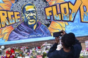 A mural of George Floyd, killed by POlice Officer on May 25th 2020