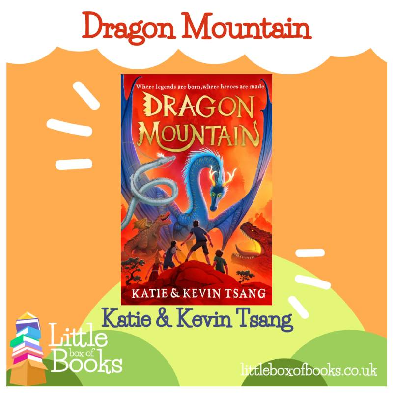 Dragon Mountain is by Katie and JKevin Tsang. It is a red book cover with a blue dragon on the front and the title is written in gold.