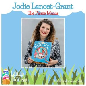 Author of the Pirate Mums Jodie Lancet-Grant with her book about pirates, The story includes a Two Mum family, bringing LGBTQ issues to the story in a lovely gentle incidental way.